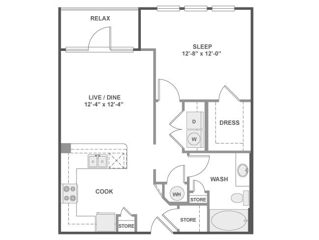 730 sq. ft. A3A floor plan
