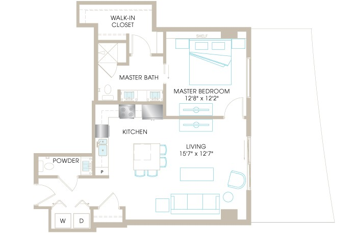 870 sq. ft. A4i floor plan
