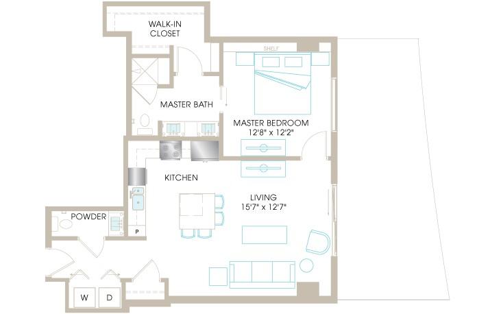 870 sq. ft. A4i floor plan
