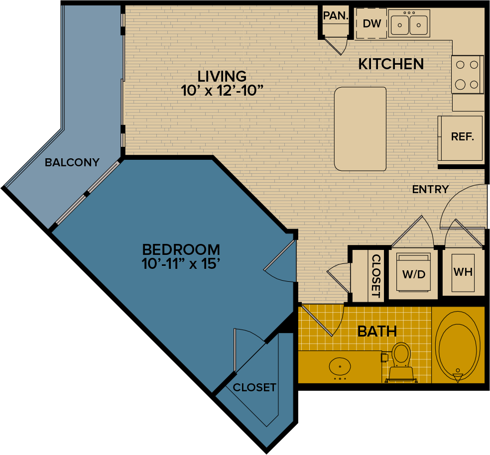 667 sq. ft. A15 floor plan
