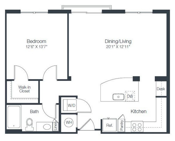 834 sq. ft. A4 floor plan