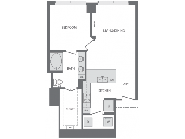 785 sq. ft. to 1,026 sq. ft. D floor plan