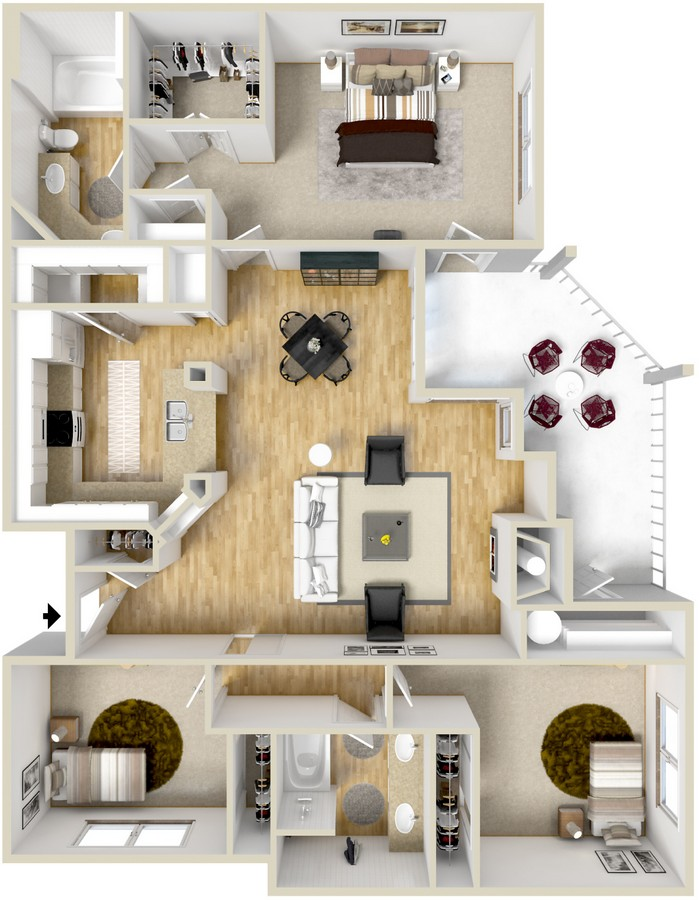 1,313 sq. ft. Barcelona floor plan