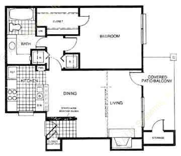 635 sq. ft. A1 floor plan