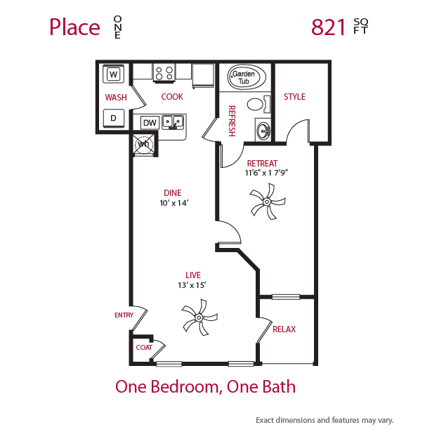 821 sq. ft. Place 1 floor plan