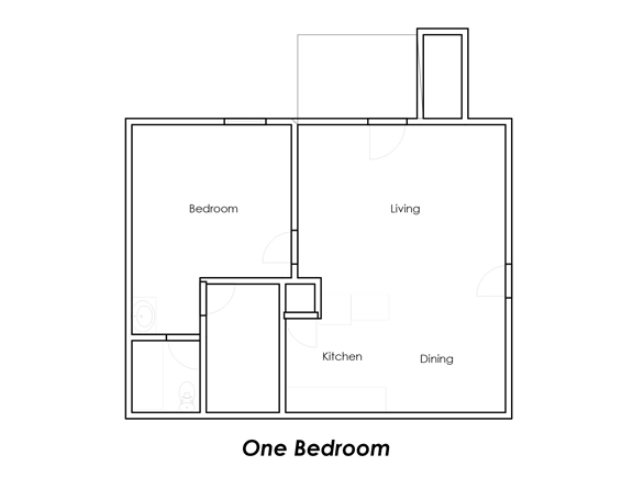 571 sq. ft. B2 floor plan