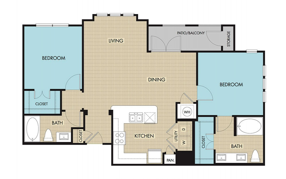 1,089 sq. ft. to 1,120 sq. ft. B2 floor plan