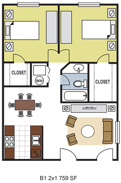 759 sq. ft. B1 floor plan