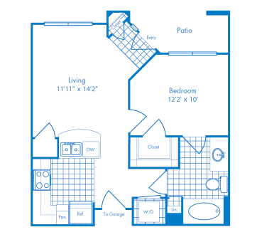 593 sq. ft. Cabo floor plan