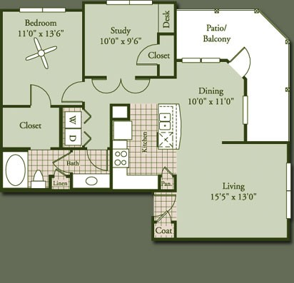 1,113 sq. ft. MOONSTONE floor plan