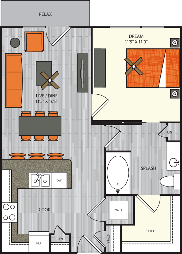 708 sq. ft. A4 floor plan