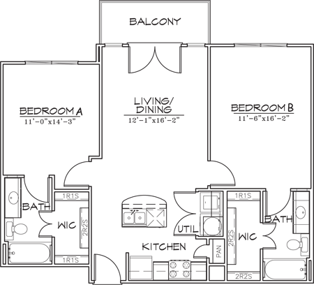 928 sq. ft. B1-7 floor plan