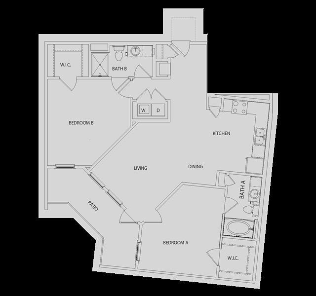 1,116 sq. ft. BB3 floor plan