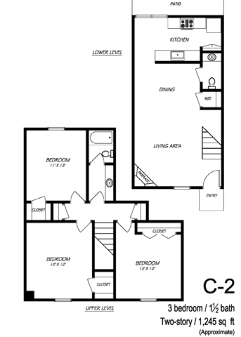 1,243 sq. ft. C2 floor plan