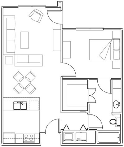 709 sq. ft. Morning Glory/60% floor plan