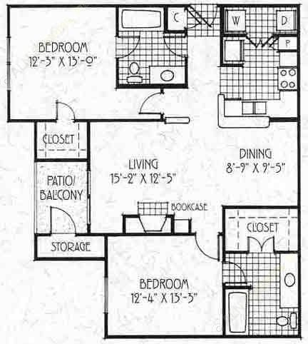 1,010 sq. ft. B2/60 floor plan