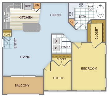 946 sq. ft. C/Vail floor plan