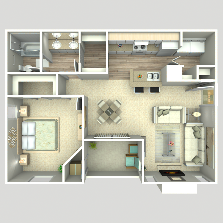 786 sq. ft. A2/A2G floor plan