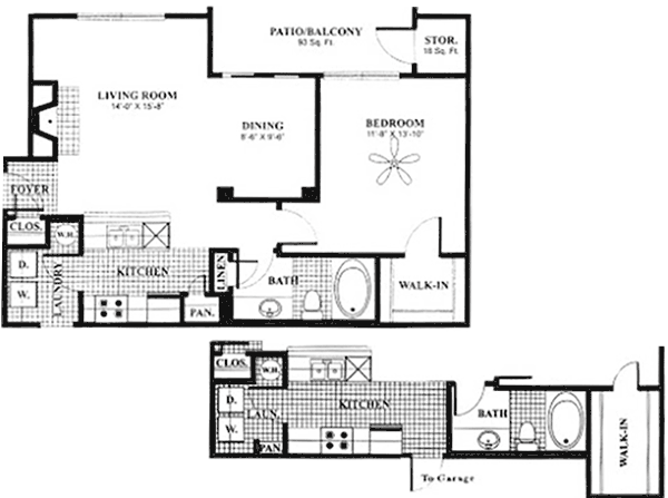 798 sq. ft. to 844 sq. ft. A2 floor plan