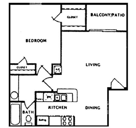 620 sq. ft. B floor plan