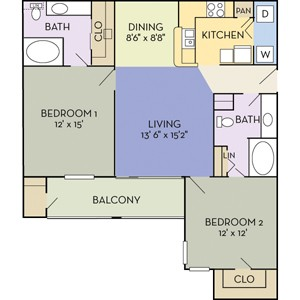1,168 sq. ft. Livingston (B2A) floor plan