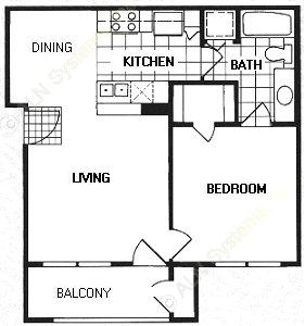 590 sq. ft. A1/HAMPTON floor plan