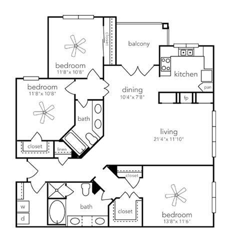 1,400 sq. ft. Salado floor plan