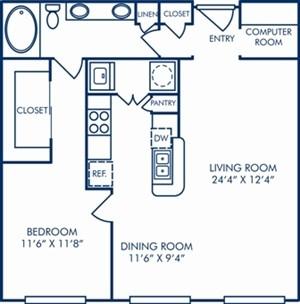 936 sq. ft. A54 floor plan