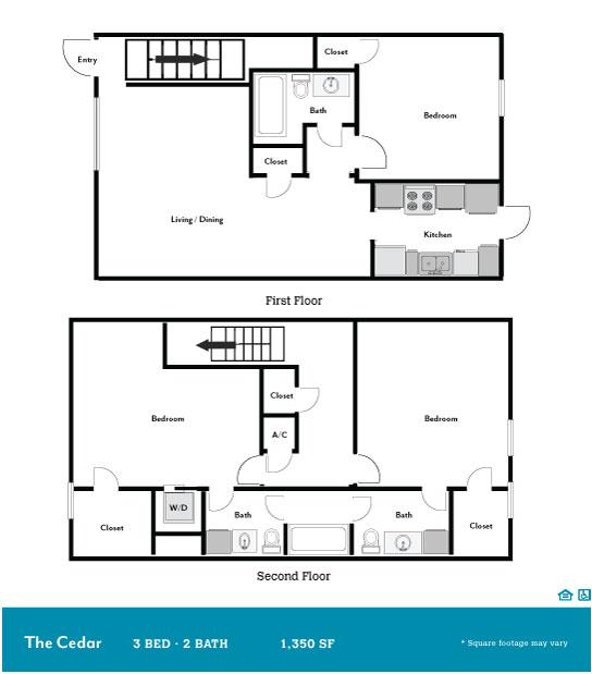 1,350 sq. ft. Cedar floor plan