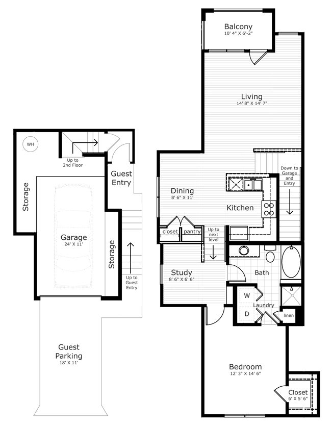 1,140 sq. ft. TH1 floor plan