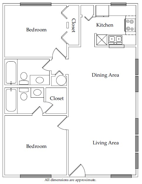 869 sq. ft. B1 floor plan