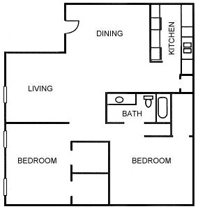 1,010 sq. ft. B2 floor plan