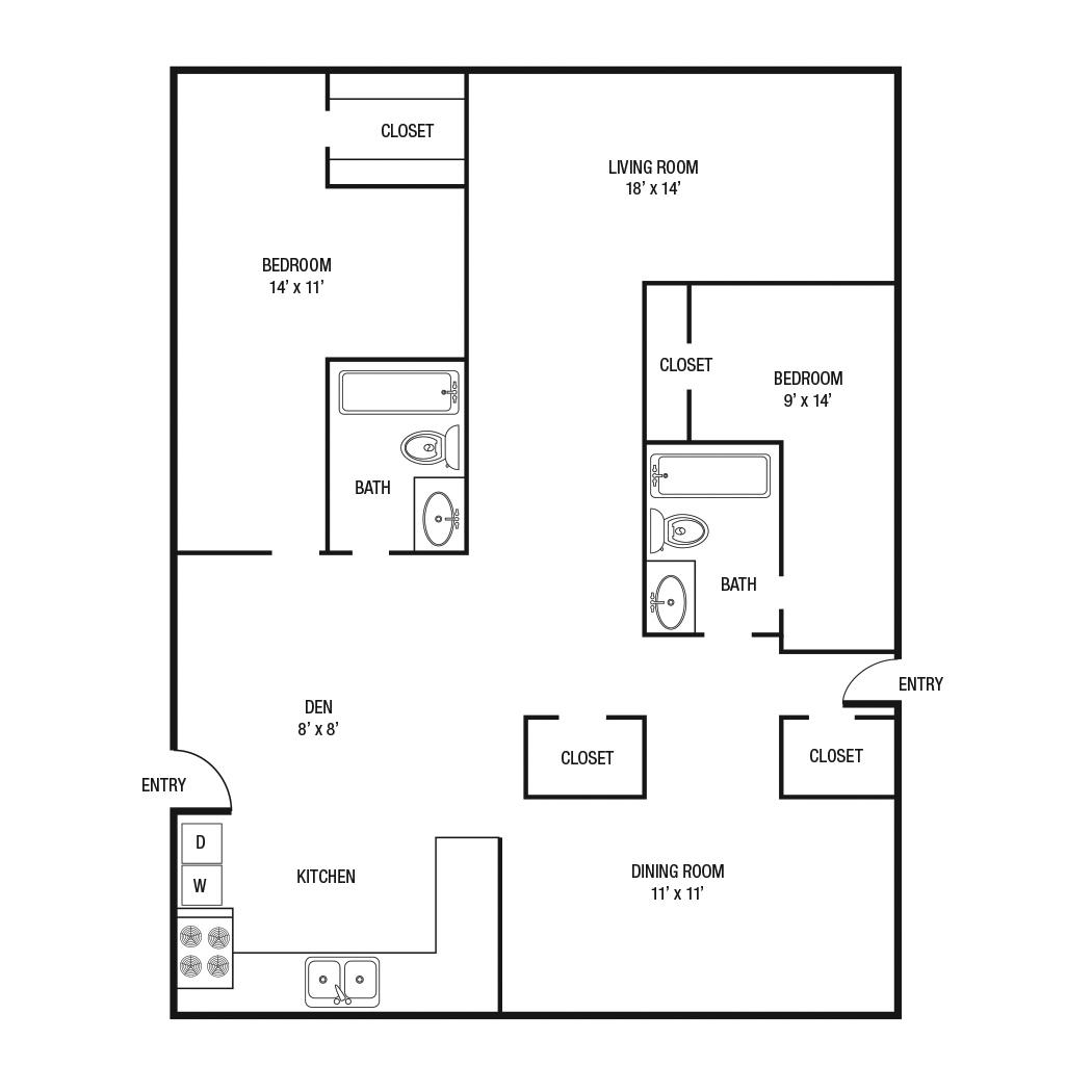 1,430 sq. ft. E floor plan
