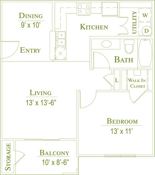 700 sq. ft. 60 floor plan