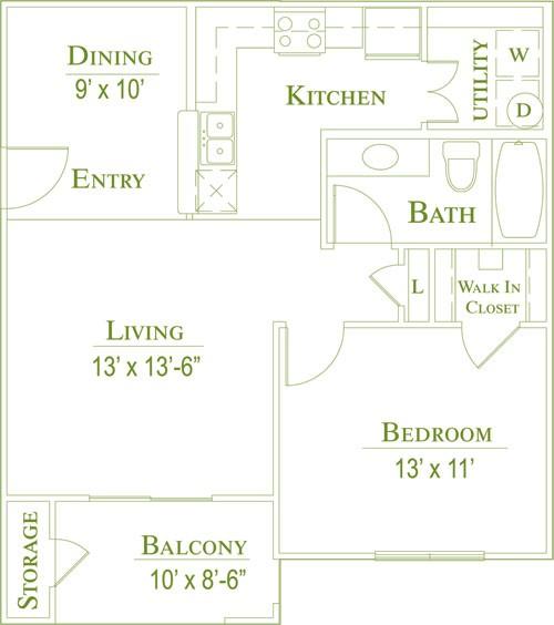 700 sq. ft. 60% floor plan