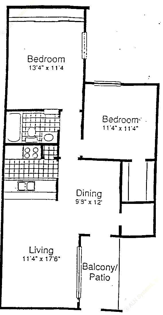 868 sq. ft. B1 floor plan