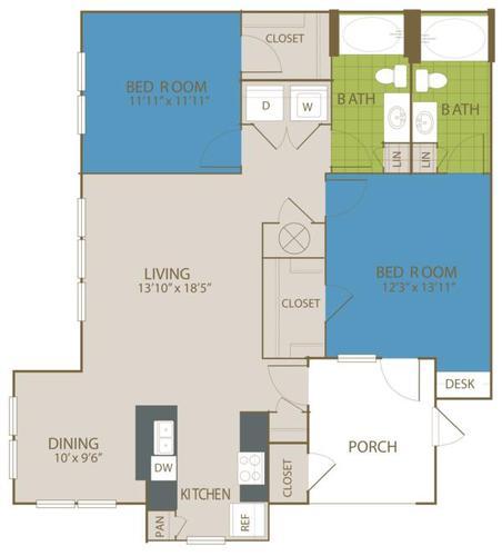 1,144 sq. ft. B2 floor plan