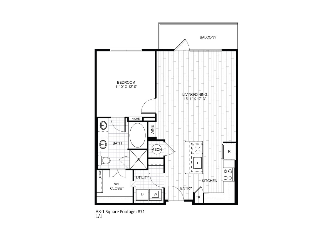 871 sq. ft. A8-1 floor plan