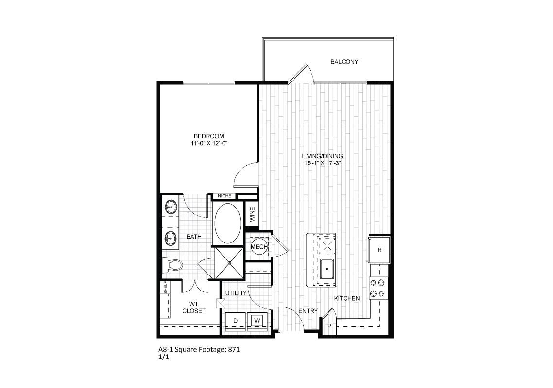 796 sq. ft. A8-1 floor plan