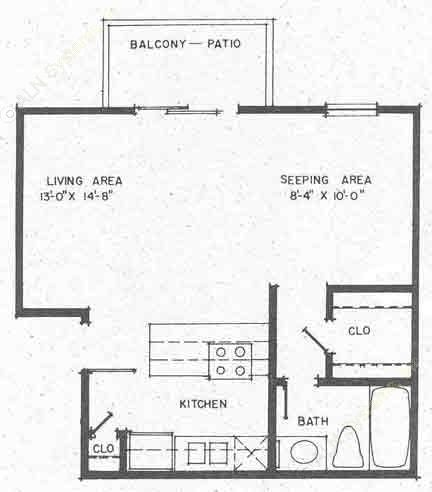 468 sq. ft. EFF floor plan
