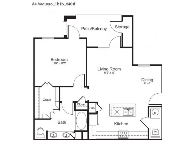 840 sq. ft. Vaquero floor plan