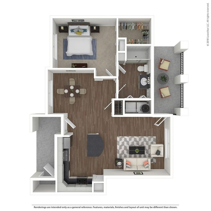 860 sq. ft. Villa Vacazza floor plan