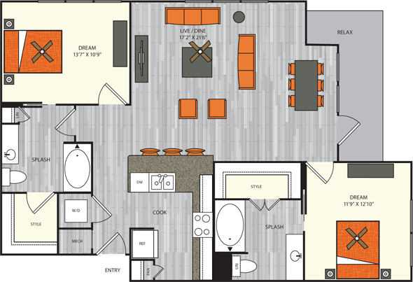 1,199 sq. ft. B5 floor plan