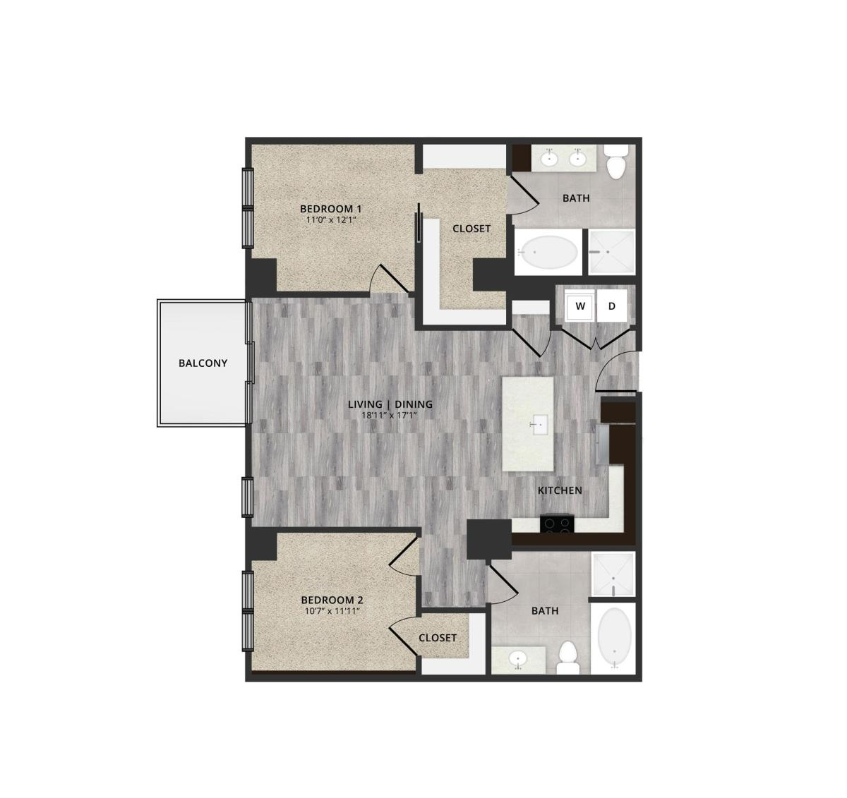 1,206 sq. ft. B2 floor plan