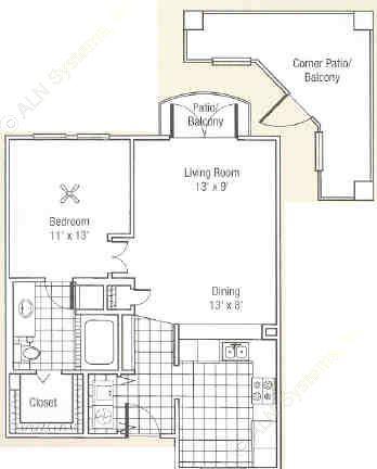 748 sq. ft. to 810 sq. ft. C floor plan