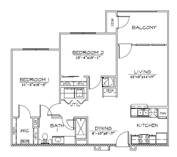 945 sq. ft. 50% floor plan