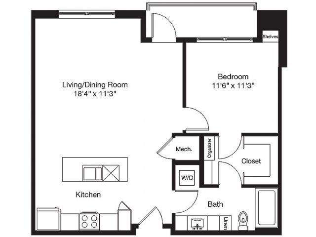 816 sq. ft. LE floor plan