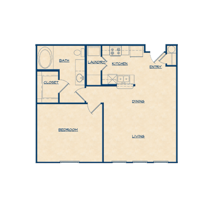 777 sq. ft. A1A floor plan