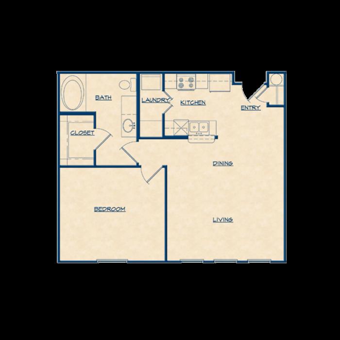 777 sq. ft. A1 floor plan
