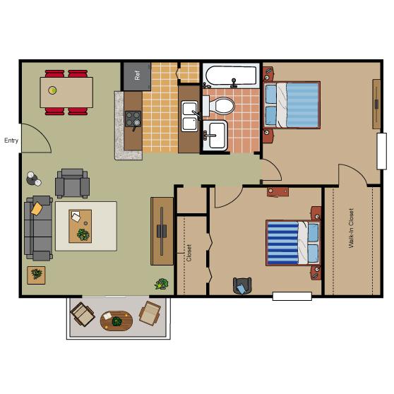 822 sq. ft. B1 floor plan